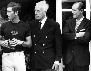 Prince Philip the Duke of Edinburgh...RCO 244-43 (23327-02) Prince Philip the Duke of Edinburgh Obligatory Credit - CAMERA PRESS/ Arthur Edwards Pictured in 1977 at a polo match at Windsor; Prince Charles (L), and Lord Mountbatten (C), with Prince Philip (R).