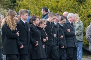 The funerals of Sean McGrotty, 46,  his two young sons Mark 12,  and Evan, 8,  Ruth Daniels, 57, the mother of Mr McGrottys partner Louise, third from left and Ms Daniels teenage daughter Jodie-Lee,15, who died when their car slipped into the water from a slipway in Buncrana at the weekend. The only survivor of the tragedy was Mr. McGrottys baby Rioghnach James. Picture Martin McKeown. Inpresspics.com. 24.03.17