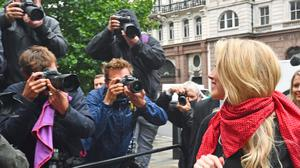 Actress Amber Heard (right) arriving at the High Court in London (Victoria Jones/PA)