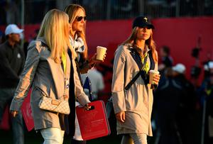 CHASKA, MN - OCTOBER 01: Nicole Willett, Erica Stoll and Eva Bossaerts walk off the first tee during morning foursome matches of the 2016 Ryder Cup at Hazeltine National Golf Club on October 1, 2016 in Chaska, Minnesota.  (Photo by Ross Kinnaird/Getty Images)