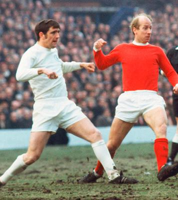 Bobby Charlton facing Norman Hunter in the early 1970s