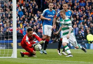 Rangers' Wes Foderingham makes a save at the feet of Celtic's Leigh Griffiths (right) during the William Hill Scottish Cup semi-final match at Hampden Park, Glasgow. PRESS ASSOCIATION Photo. Picture date: Sunday April 17, 2016. See PA story SOCCER Rangers. Photo credit should read: Danny Lawson/PA Wire. EDITORIAL USE ONLY
