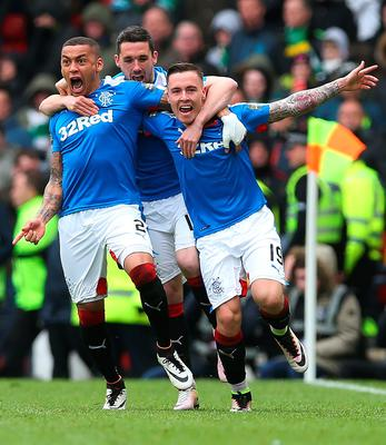 GLASGOW, SCOTLAND - APRIL 17:  Barrie McKay (R) of Rangers celebrates with his team-mates after he scoring their second goal during the Scottish Cup Semi Final between Rangers and Celtic at Hampden Park on April 17, 2016 in Glasgow, Scotland. (Photo by Ian MacNicol/Getty Images)