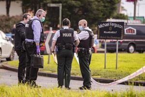 Police at the scene of a stabbing incident on the Michael Ferguson Roundabout on September 14th 2020 (Photo by Kevin Scott for Belfast Telegraph)