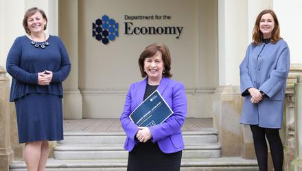 Move: From left, Joanne Stuart, chief executive of NI Tourism Alliance, Economy Minister Diane Dodds and Angela McGowan, regional director of the CBI