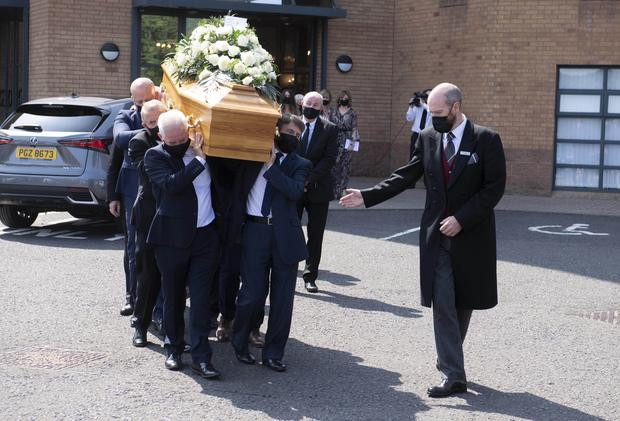 19th July 2021  Pastors of Whitewell Tabernacle carry the coffin of Pastor mcConnell from the church followed by family members. Photo : Stephen Hamilton/Presseye