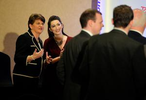 BELFAST, NORTHERN IRELAND - DECEMBER 17:  DUP leader in waiting Arlene Foster (L) jokes with Emma Pengelly (2nd L) at the Park Avenue hotel ahead of the Democratic Unionist Party electoral college meeting on December 17, 2016 in Belfast, Northern Ireland. Arlene Foster, who will succeed Peter Robinson becomes the first female leader of the Democratic Unionist Party. No other nominations were put forward for the role of leader. Mrs Foster will also be appointed as the new Northern Ireland first minister in the coming weeks. The former Ulster Unionist Party member has enjoyed a rapid rise through the ranks of the DUP following her defection in 2004, twice standing in as temporary first minister for Peter Robinson in times of personal and political crisis. The DUP remain the largest political party within the provinces' Executive government.  (Photo by Charles McQuillan/Getty Images)