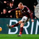 Magic moment: Liam Boyce finds the net and celebrates at the finish