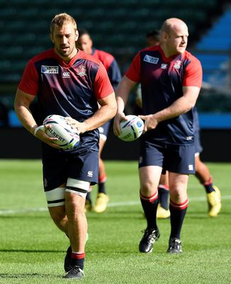 England's back row Chris Robshaw (L) takes part in a training session at Twickenham Stadium, south west London, on September 17, 2015 on the eve of their opening match of the 2015 Rugby Union World Cup against Fiji.  AFP PHOTO / FRANCK FIFE RESTRICTED TO EDITORIAL USEFRANCK FIFE/AFP/Getty Images