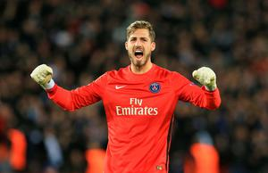 Paris Saint-Germain goalkeeper Kevin Trapp celebrates after his side score a second goal during the UEFA Champions League Quarter Final, First Leg match at the Parc des Princes, Paris. PRESS ASSOCIATION Photo. Picture date: Wednesday April 6, 2016. See PA story SOCCER Paris St Germain. Photo credit should read: Adam Davy/PA Wire