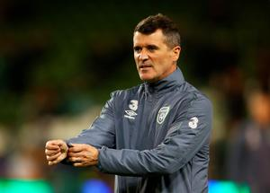 DUBLIN, IRELAND - NOVEMBER 16:  Republic of Ireland assistant coach Roy Keane looks on as his players warm up prior to kickoff during the UEFA EURO 2016 Qualifier play off, second leg match between Republic of Ireland and Bosnia and Herzegovina at the Aviva Stadium on November 16, 2015 in Dublin, Ireland.  (Photo by Ian Walton/Getty Images)
