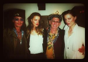Johnny Depp, Amber Heard, Keith Richards and Whitney Heard during the filming of a documentary on Mr Richards on March 22 2013 (PA/PA Wire)
