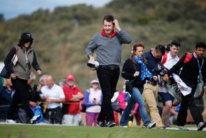 GULLANE, SCOTLAND - JULY 15:  Sir Nick Faldo of England looks on ahead of the 142nd Open Championship at Muirfield on July 15, 2013 in Gullane, Scotland.  (Photo by Rob Carr/Getty Images)