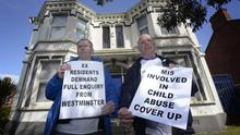 A protest takes place outside Kincora on Tuesday morning for the demolition of the Victorian house in East Belfast. Pic Colm Lenaghan/Pacemaker