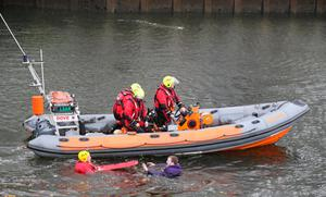 The Duke of Cambridge (not pictured) sees the work of Lagan Search and Rescue during a demonstration, they are a rescue and lifeboat service that covers the Belfast Harbour Estate, River Lagan and the estuarial waters of Belfast Lough, in the Titanic Quarter, as part of his tour of Belfast. PRESS ASSOCIATION Photo. Picture date: Wednesday October 4, 2017.  Brian Lawless/PA Wire