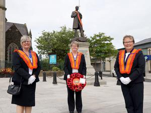 PACEMAKER PRESS BELFAST  13/7/2020 Twelfth of July celebrations in Portadown today. People were encouraged to celebrate the Twelfth from home due to coronavirus. The Orange Order were not parading today, however, a small number of local lodges took part in a Remembrance Service at Portadown Cenotaph.  Pictured: Anne Gillespie, Shirley Branyan and Norma Gillespie of Portadown District No. 3.  Photo Pacemaker Press