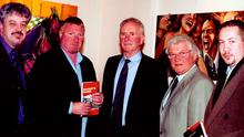 Sports journalists Grant Cameron, Jim Gracey, Jackie Fullerton and Stephen Looney with Harry Gregg at the 2002 launch of his book Harry's Game.
