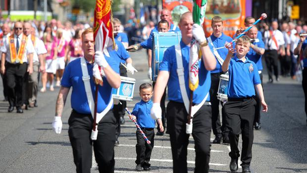 12th July Orange Order parade takes places in Belfast with lodges from all parts of the city and beyond being led by marching bands from Carlisle Circus in north Belfast to Barnett Demesne in south Belfast. Picture by Jonathan Porter/PressEye.com
