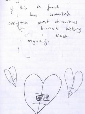 Page from a diary kept by the older boy in which he discussed his motivations for wanting to carry out a mass shooting (North East CTU)