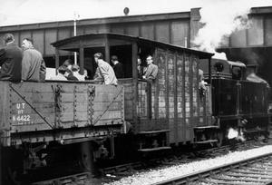 A 50-year-old railway engine, R.T. 24, which spent its life shunting along the Belfast docks, on a special outing with members of the Northern Ireland Railway and Road Development Association and the Irish railway record Society, who travelled in brake-vans and truck from Great Victoria Street station.  14/5/1962