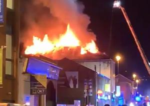 The fire at Envy Nightclub in Londonderry. Credit: Leona O'Neill