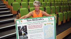 Final curtain: Tom McGrath, who is running 100 miles from Belfast to Dublin in aid of mental health and wellbeing charity Jigsaw