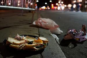 BOSTON, MA - APRIL 16:  Unclaimed food sits near the scene of a twin bombing at the Boston Marathon, on April 16, 2013 in Boston, Massachusetts. Three people are confirmed dead and at least 141 injured after the explosions went off near the finish line of the marathon yesterday. The bombings at the 116-year-old Boston race, resulted in heightened security across the nation with cancellations of many professional sporting events as authorities search for a motive to the violence. (Photo by Spencer Platt/Getty Images)