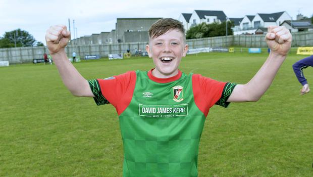 Jude Johnston celebrates after his goal sent Glentoran into the SuperCupNI final.