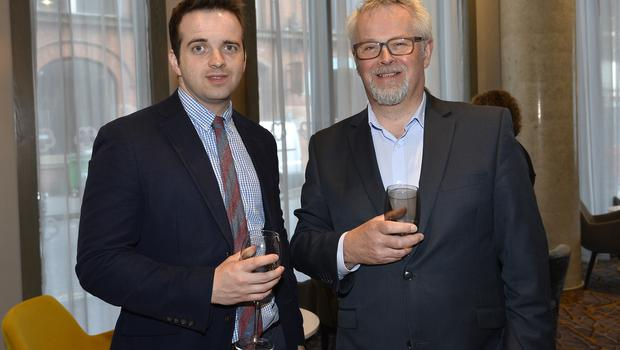 17th May 2018 Gareth McKeown and Richard Sheriff pictured at the Grand opening of the new Maldron Hotel in Brunswick street in Belfast  Mandatory Credit: Presseye/Stephen Hamilton