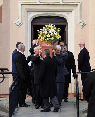 PACEMAKER BELFAST  05/02/2018 Family and Friends attend the funeral of Robert Flowerday  at Crumlin Presbyterian Church on Monday. Robert Flowerday  (aged 64) , was found dead at his  home on Mill Road in Crumlin , Co Antrim. Michael Owens aged 33 has been Charged with the Murder. Pic Pacemaker Press