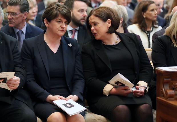 DUP leader Arlene Foster and Sinn Fein leader Mary-Lou McDonald at the funeral and service of thanksgiving for the life of  journalist Lyra McKee at St AnneÄôs Cathedral, Donegall Street, Belfast.