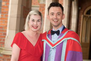 Pictured celebrating graduation success at Queen's University Belfast are Shauna McAteer and Michael Daly. Michael graduated with a PhD in Medicine, from the School of Medicine, Dentistry and Biomedical Sciences.