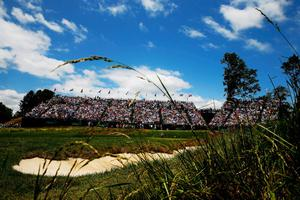ARDMORE, PA - JUNE 14:  A general view of the 17th green is seen as Tiger Woods of the United States, Adam Scott of Australia and Rory McIlroy of Northern Ireland play during Round Two of the 113th U.S. Open at Merion Golf Club on June 14, 2013 in Ardmore, Pennsylvania.  (Photo by Scott Halleran/Getty Images)