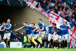 GLASGOW, SCOTLAND - APRIL 17:  Rangers players celebrate after beating Celtic in a penalty shoot out during the William Hill Scottish Cup semi final between Rangers and Celtic at Hampden Park on April 17, 2016 in Glasgow, Scotland.  (Photo by Jeff J Mitchell/Getty Images)