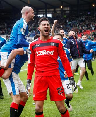 Rangers' goal keeper Wes Foderingham as he celebrates with team mates after their victory during the William Hill Scottish Cup semi-final match at Hampden Park, Glasgow. Picture date: Sunday April 17, 2016. See PA story SOCCER Rangers. Photo credit should read: Danny Lawson/PA Wire. EDITORIAL USE ONLY