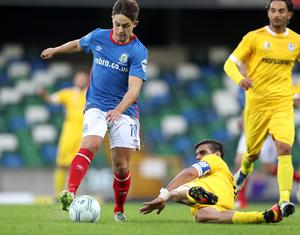 Jordan Stewart was the hero for Linfield on his debut in the first leg.