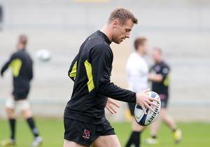 Press Eye Belfast - Northern Ireland 19th October  Ulster Rugby captain's run ahead of their Saturday night European Rugby Champions Cup game against the Exeter Chiefs at Kingspan Stadium.   Tommy Bowe  Picture by Jonathan Porter/Press Eye