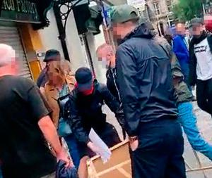 Footage from incident on Saturday in Fountain Street when Irish Freedom Party members were confronted