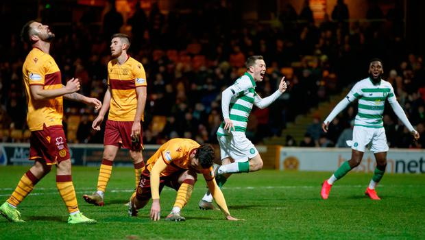 Celtic's Callum McGregor scores his side's third goal of the game during the Ladbrokes Scottish Premiership match at Fir Park Stadium. Credit: Steve Welsh/PA Wire