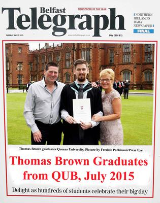 Mandatory Credit - Picture by Freddie Parkinson/Press Eye ? Tuesday 7th July 2015 Graduations Queen University Belfast. Thomas Brown from Randlestown graduates in Queen University Belfast with Finance.