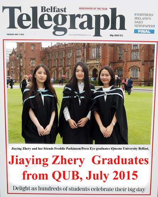 Mandatory Credit - Picture by Freddie Parkinson/Press Eye ? Tuesday 7th July 2015 Graduations Queen University Belfast. Jiaying Zhery and her friends from China graduates in Queen University Belfast with Business Management.