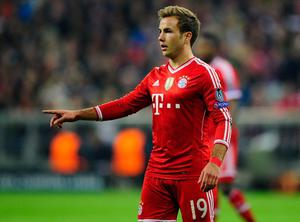 MUNICH, GERMANY - APRIL 09:  Mario Goetze of Muenchen reacts during the UEFA Champions League quarter-final second leg match between FC Bayern Muenchen and Manchester United at Allianz Arena on April 9, 2014 in Munich, Germany.  (Photo by Lennart Preiss/Bongarts/Getty Images)