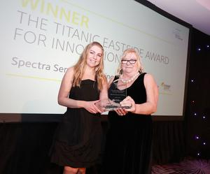 Eastside Awards Winners 2019   CAPTIONS  Innovation Meta Auden of Spectra Sensory Clothing receives Titanic Eastside Award for Individual Contribution to Sport from Maeve Moreland of sponsors Titanic Foundation, Titanic Belfast and Titanic Quarter