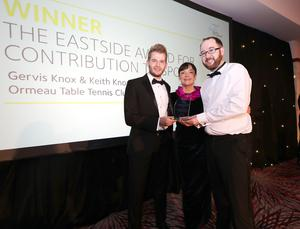 Eastside Awards Winners 2019   CAPTIONS  Individual Contribution to Sport Gervis and Keith Knox of Ormeau Table Tennis Club & Ulster Table Tennis receive Eastside Award for Individual Contribution to Sport from Clare Lenaghan of sponsor Millar McCall Wylie