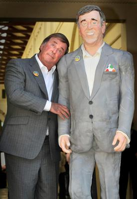 Sir Terry Wogan with a life-size cake replica made to mark the 30th anniversary of his presenting BBC Children in Need in 2009