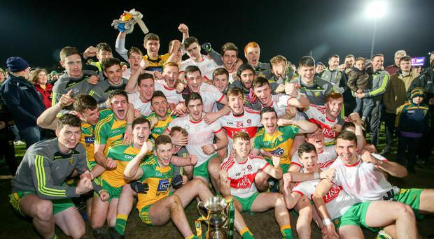 Just champion: Donegal players celebrate their Ulster title victory over Derry