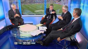 RTÉ Pundit Joe Brolly (second left) speaks passionately about the tactics employed by Tyrone and Sean Kavanagh in their All-Ireland quarter final with Monaghan at Croke Park