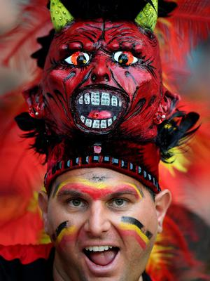 LILLE, FRANCE - JULY 01:  A Belgium supporter enjoys the atmosphere prior to the UEFA EURO 2016 quarter final match between Wales and Belgium at Stade Pierre-Mauroy on July 1, 2016 in Lille, France.  (Photo by Matthias Hangst/Getty Images)