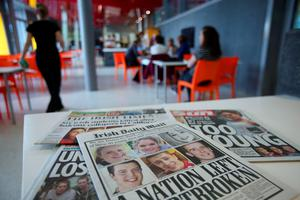 Newspapers in the student centre in University College Dublin where three of the six students studied before they were killed in a balcony collapse in the US. Photo: Niall Carson/PA