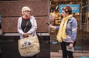 Christine McCaw from the Shankill was first in the queue as Primark in Belfast city centre reopens on June 18th 2020 (Photo by Kevin Scott for Belfast Telegraph)